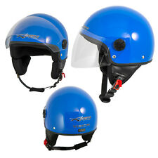 Motorcycle Open Face Classic Jet Helmet  Scooter Clear Visor Blue