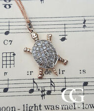 Vintage Inspired 9ct Rose Gold Turtle Pendant Necklace with Diamonds