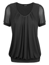 Black Sexy Women's Short Sleeve V-Neck Front Pleated Net Yarn Fashion Tunic Tops