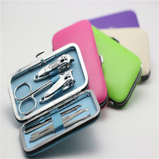 Cool 7pcs Manicure Set Nail Care Clippers Scissors Travel Grooming Kits Case B