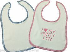 I love my aunty, nanny, big sister, Personalised Bib, choice of colours