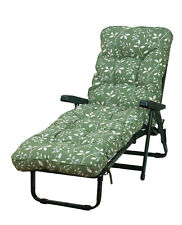 Deluxe Garden Sun Bed Lounger Country Green with 10cm Boxed & Piped Cushion