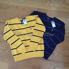 NWT boys Polo Ralph Lauren 100% cotton crewneck pullover sweater blue yellow