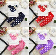 2 Pcs Girls Clothing Sets Cute Cartoon Suits Polka Dot Baby Kids Leggings