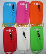 for Samsung galaxy s3  SIII i9300 soft case cover attached stylus pen 6 colors