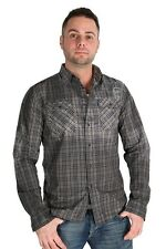Parasuco Mens Blue Grey Faded Button Up 9-COOPER Long Sleeve Plaid Top $168 CAD