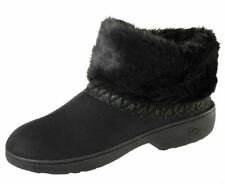 isotoner Black Microsuede Memory Foam Low Boot Slippers