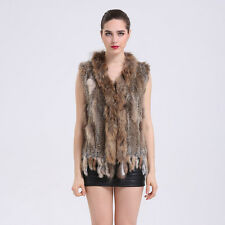 Promotion Real Knitted Rabbit Fur With Raccoon Fur Collar Vest Gilet Fur Coat V1