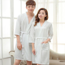 Men Women Waffle Bathrobe Long Dressing Gown Kimono Bridesmaid Robe Sleepwear