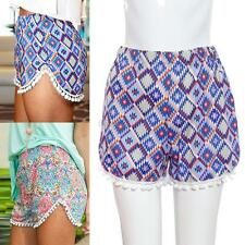 Summer Ladies Stretchy Tassel Floral Sport Shorts High Waist Casual Beach Pants