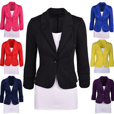 Hot Occident Womens Slim Fit Outwear Candy Color One Button Blazer Overcoat Tops