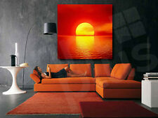 Red Sun Sunset On The Lake Wall Decor Art Canvas Print