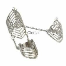 Rhinestone Full Finger Joint Chain Ring Armor Hollow Knuckle Rings