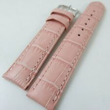 HQ 18/16 MM PINK ITALY CROC GRAIN LEATHER WATCH BAND 18MM STRAP