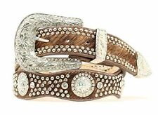 Nocona Western Womens Belt Leather Crystal Concho Hair Brown N3416102
