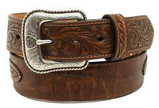 Nocona Western Mens Belt Leather Overlay Floral Concho Brown A1022202