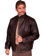Scully Leather Mens Brown Top Grain Calf Zip Front Jacket