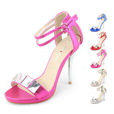SHOEZY Womens crystals ankle straps high heels sandals evening bling shoes size