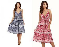 Ladies Paisley Tiered Cross Over Strappy Summer Beach Dress with Plunge Neckline