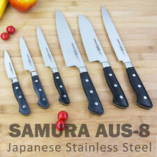 SAMURA AUS-8 Japanese Stainless Steel Paring Utility Carving Chef Santoku Knife