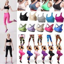 Womens Sports Bra Stretch Top Tight Cropped Pants Leggings Gym Yoga Fitness