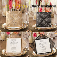 Laser Cut-out Floral Personalized Wedding Invitations Cards and Envelopes, Seals