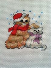 Completed Christmas Cross Stitch - CHRISTMAS CATS