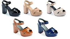 NEW LADIES PLATFORM HIGH CHUNKY HEEL ANKLE STRAP WOMENS PLATFORM SHOES SIZE 3-8