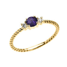 10k Yellow Gold Dainty Solitaire Amethyst & White Topaz Rope Stackable Ring