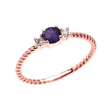 10k Rose Gold Dainty Solitaire Amethyst & White Topaz Rope Stackable Ring