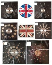 STYLISH MIRRORED DIAMANTÉ SUNBURST BEADED BRITISH UNION JACK ALPHABET WALL CLOCK