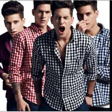Hot New Spring Fashion Mens Grid Long Sleeved Casual Flannel Formal T-shirts 3XL