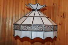 Vtg Tiffany Styl Stained Slag Lead Glass Hanging Chandelier Lamp Shade Light 16""