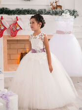 Flower Girl Dress Prom Wedding Birthday Bridals Ball Gown Pageant Party  White