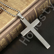 Silver Fashion Unisex Stainless Steel Cross Pendant Necklace Chain Couple Gift