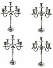 5 Arm Complements Candelabra Aluminium Silver Polished Finish Candle Holder