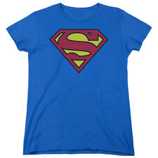 SUPERMAN CLASSIC LOGO Licensed Women's Graphic Tee Shirt SM-2XL