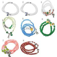 Hot Multilayer Crystal Agate Beads Flower Pendant Wrap Bracelet Bangle Jewelry