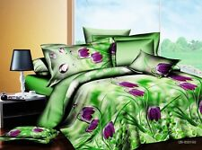 Double King Size Purple Floral Green   3D duvet bedding set LIMITED EDITION xmas