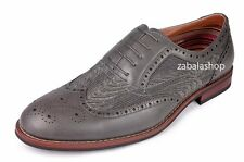 Ferro Aldo Men Classic WingTip Leather Lining Perforated Oxford Shoes Grey