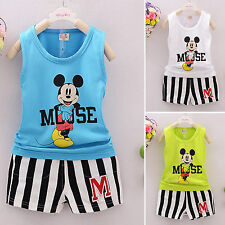 2Pcs Boys Girl Kids Mickey Vest Top T-shirt+Pants Outfit Summer Clothes Set 1-5Y