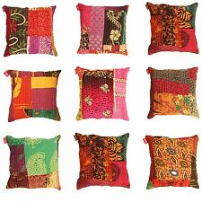 Indian Cotton Ethnic Cotton Floral Kantha Cushion Cover Covers Handmade 16x16