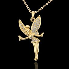 Statement Fashion Women 18K Gold Plated Crystal Dancing Angel Necklace Pendant