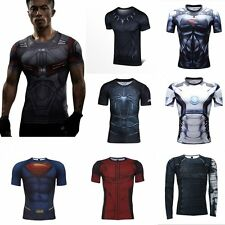 Men's Compression Marvel Superhero T-shirts Fitness Sports Activewear Top Shirts