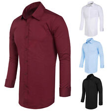 New Mens Trim Fit Long Sleeves Slim Fit Collar Button-Down Shirts Solid Color