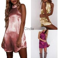 Womens Sexy Satin Dress Halter Backless Babydoll Beach Party Clubwear Mini Dress