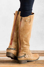 Steve Madden Girl Caanyon Cognac Distressed Faux Leather Riding Boot w/Chain, 6M