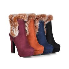 Women's High Heel Round Toe Platform Shoes Suede Fabric Ankle Boots AU Size O066