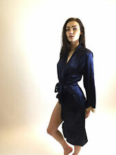 Sexy Japanese Kimono Dressing Gown Bath Robe Nightwear Lace Trim Blue S M L XL