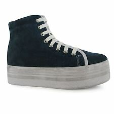 Jeffrey Campbell hOMG Hi Tops Platform Shoes Womens Navy/White Trainers Sneakers